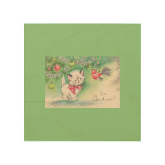 Beautiful Vintage Christmas Puppy Kitten Mouse Wood Print