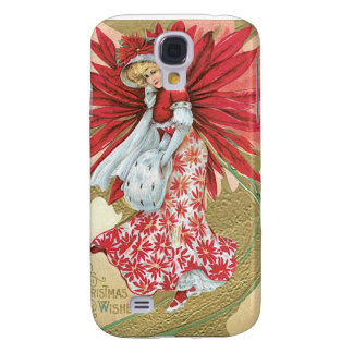 """Beautiful Vintage """"Christmas Wishes"""" Lady Galaxy S4 Covers"""