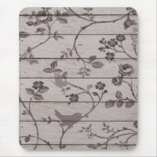 Beautiful vintage elegant floral birds butterflies mouse pad