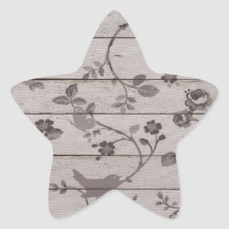 Beautiful vintage elegant floral birds butterflies star sticker