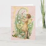 """Beautiful Vintage Fairy Birthday Card for a Mother<br><div class=""""desc"""">This is a beautiful vintage fairy birthday card to send to your mother. The small fairy is shown in a fairy garden playing music on the bells of lily-of-the-valley. She is dressed in a short yellow gown and has transparent yellow wings. The lily-of-the-valley curves gently above her head. Daisies and...</div>"""