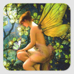 Beautiful Vintage Fairy Square Stickers