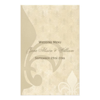 Beautiful Vintage Fleur de Lis Wedding Menu