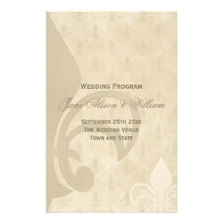 Beautiful Vintage Fleur de Lis Wedding Program