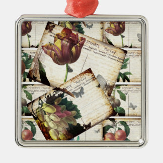 Beautiful Vintage Floral Postcards Collage Design Metal Ornament