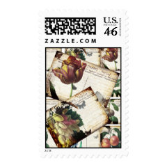 Beautiful Vintage Floral Postcards Collage Design Postage Stamp