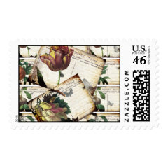 Beautiful Vintage Floral Postcards Collage Design Postage Stamps