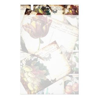 Beautiful Vintage Floral Postcards Collage Design Stationery