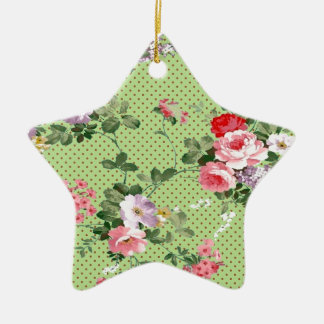 beautiful vintage floral roses polka dot green ornament
