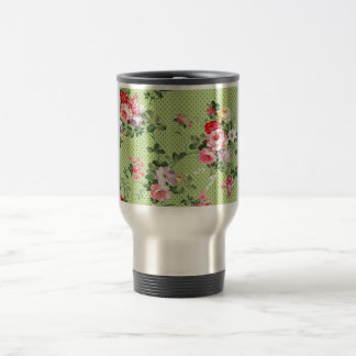 beautiful vintage floral roses polka dot green travel mug
