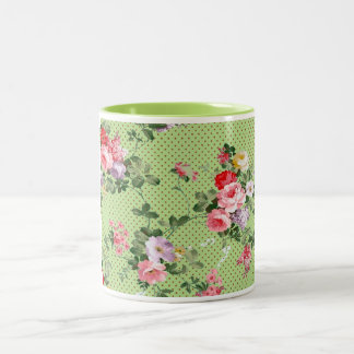 beautiful vintage floral roses polka dot green Two-Tone coffee mug