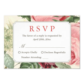 Beautiful Vintage Floral Wedding RSVP Reply Card