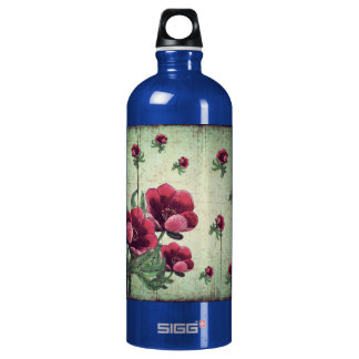 Beautiful Vintage Flower Collage Aluminum Water Bottle