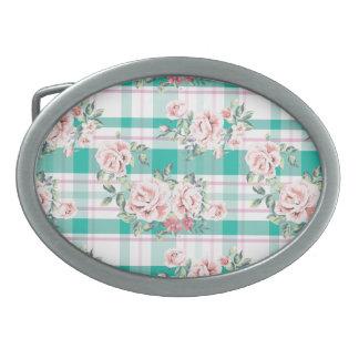 Beautiful Vintage Flowers Rose Pattern Oval Belt Buckle