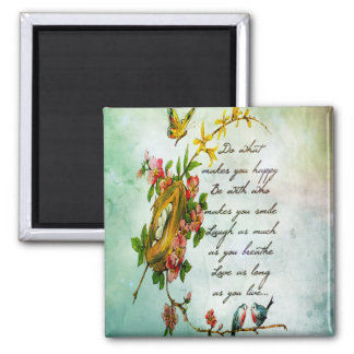 Beautiful vintage flowery tree branch with birds 2 inch square magnet