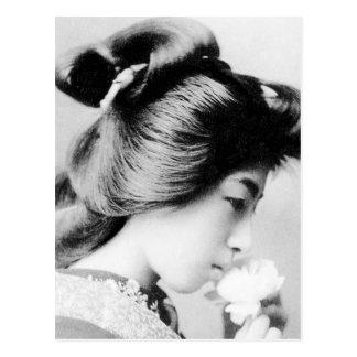Beautiful Vintage Geisha Smelling a Flower Japan Postcard