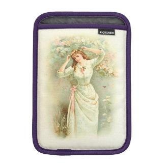 Beautiful Vintage Girl Pastel Flowers & Pink Roses iPad Mini Sleeve