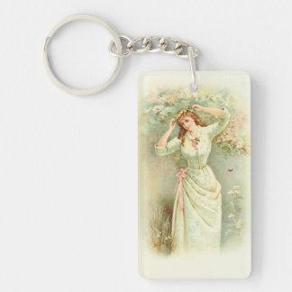 Beautiful Vintage Girl Pastel Flowers & Pink Roses Keychain