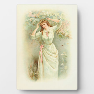 Beautiful Vintage Girl Pastel Flowers & Pink Roses Plaque
