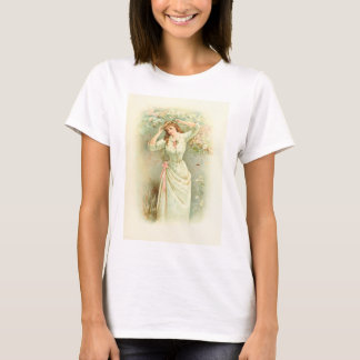 Beautiful Vintage Girl Pastel Flowers & Pink Roses T-Shirt