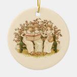 Beautiful Vintage Girls Playing Music- Christmas Tree Ornaments