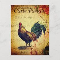 Beautiful Vintage Golden Rooster Postcard