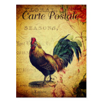 Beautiful Vintage Golden Rooster Postcard
