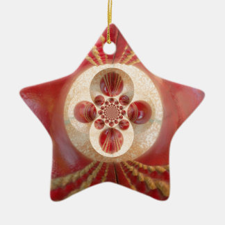 Beautiful Vintage Graphic Leather Cricket Balls.jp Double-Sided Star Ceramic Christmas Ornament