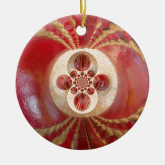 Beautiful Vintage Graphic Leather Cricket Balls.jp Double-Sided Ceramic Round Christmas Ornament