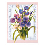 Beautiful Vintage Iris Bouquet Birthday Announcement