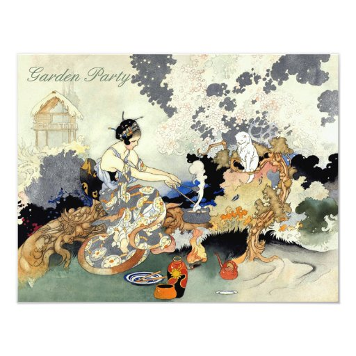 Beautiful Vintage Japanese Birthday Garden Party Card Zazzle