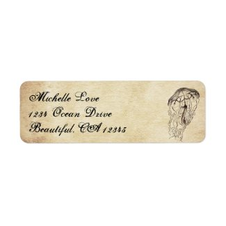 Beautiful Vintage Jellyfish Beach Address Label
