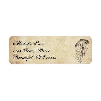 Beautiful Vintage Jellyfish Beach Address Label