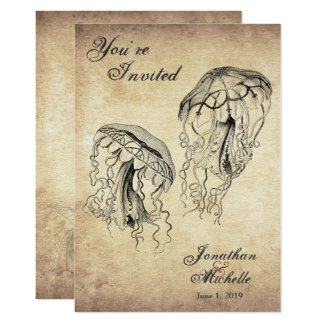 Beautiful Vintage Jellyfish Beach Wedding Invitation