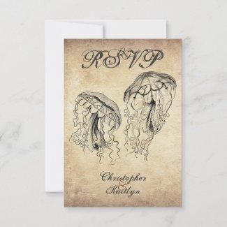 Beautiful Vintage Jellyfish Beach Wedding RSVP Card
