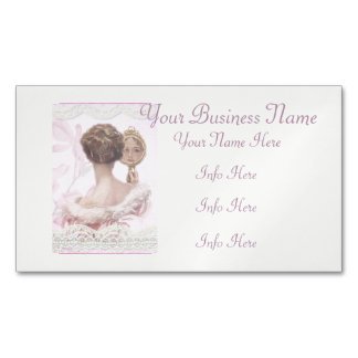 Beautiful Vintage Lady In Pink Magnetic Business Card