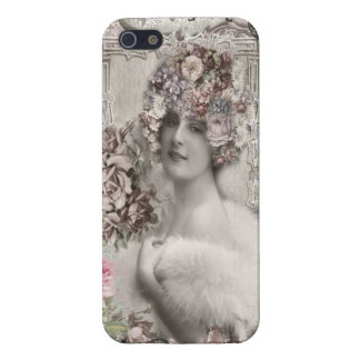 Beautiful Vintage Lady with Jewels & Flowers Case For iPhone SE/5/5s