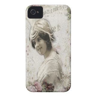 Beautiful Vintage Lady with Jewels & Flowers Case-Mate iPhone 4 Case