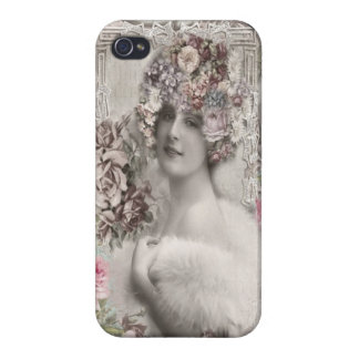 Beautiful Vintage Lady with Jewels & Flowers iPhone 4/4S Covers