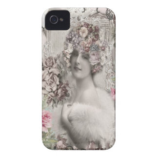 Beautiful Vintage Lady with Jewels & Flowers iPhone 4 Cover
