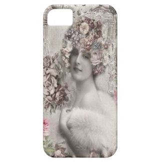Beautiful Vintage Lady with Jewels & Flowers iPhone SE/5/5s Case