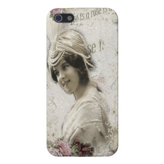Beautiful Vintage Lady with Jewels & Flowers iPhone SE/5/5s Cover