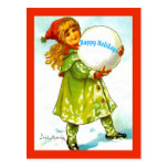 Beautiful Vintage Little Girl Happy Holidays Snow Postcard