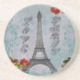 Beautiful vintage Love Paris Eiffel Tower Drink Coaster
