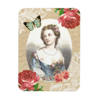 Beautiful vintage magnet with lady and roses