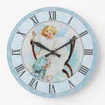Beautiful Vintage Maud Humphrey Sewing Girl Blue Large Clock