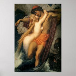 Beautiful Vintage Mermaid and Human in Love Poster