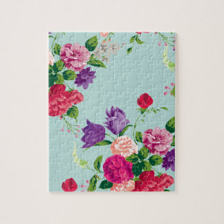 beautiful,vintage,mint,floral,pink,cute,girly,chic jigsaw puzzle