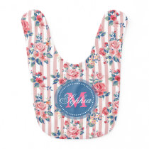 Beautiful vintage monogram roses floral stripes baby bib