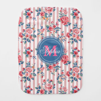 Beautiful vintage monogram roses floral stripes baby burp cloth